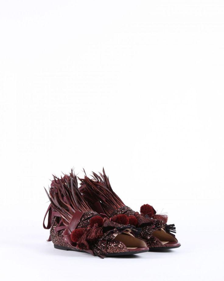 Scarpe glitter con frange, pon pon e piume N°21