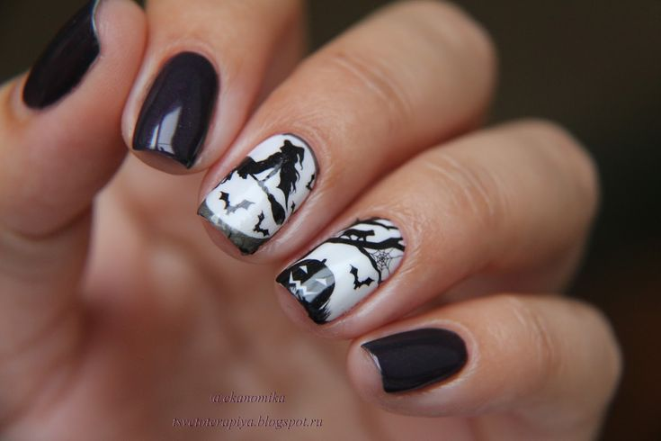31st october nails, Black and white nail ideas, Halloween nails, Night nails, Pumpkin nails, Slider nails, Two color nails, Witch nails