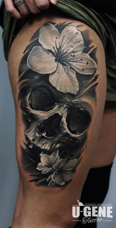 Skull and Cherry Blossom Flower Black and Gray Leg Thigh Tattoo Done by U-Gene at Redberry Tattoo Studio in Wroclaw, Poland.