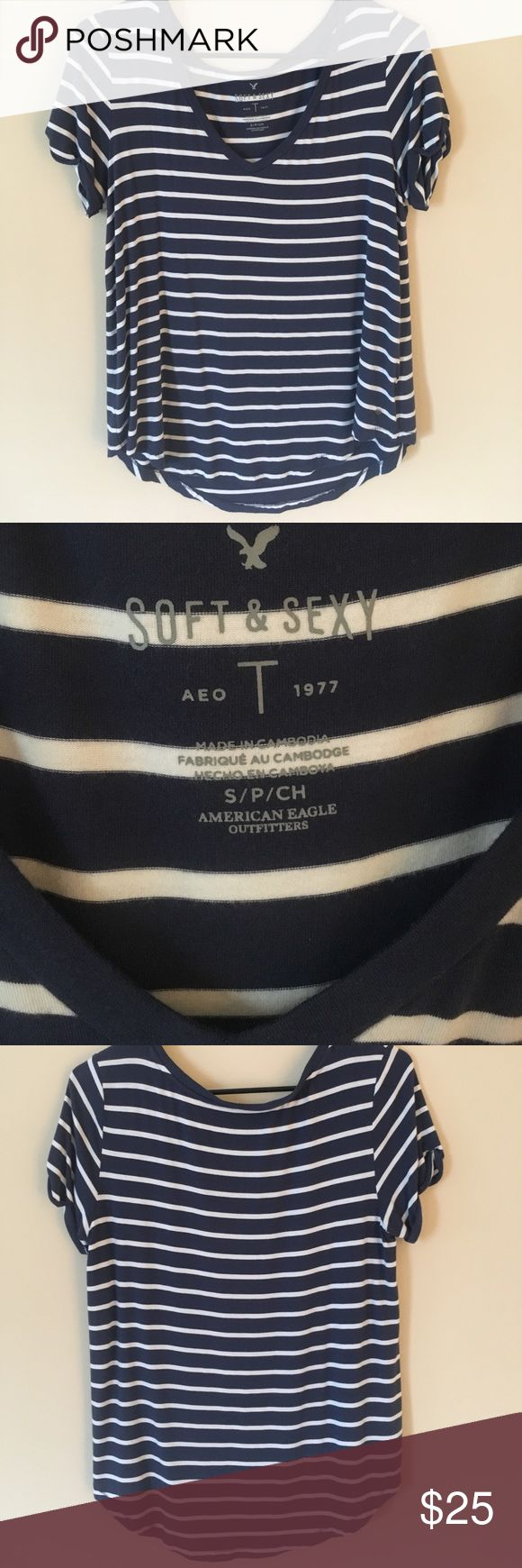 American Eagle Outfitters V-Neck Boyfriend Shirt BRAND NEW; only worn ONCE; American Eagle v-neck t shirt; size small; navy blue and white American Eagle Outfitters Tops Tees - Short Sleeve