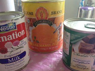 Mango Kulfi (canned mango pulp, evaporated milk, condensed milk, cream)