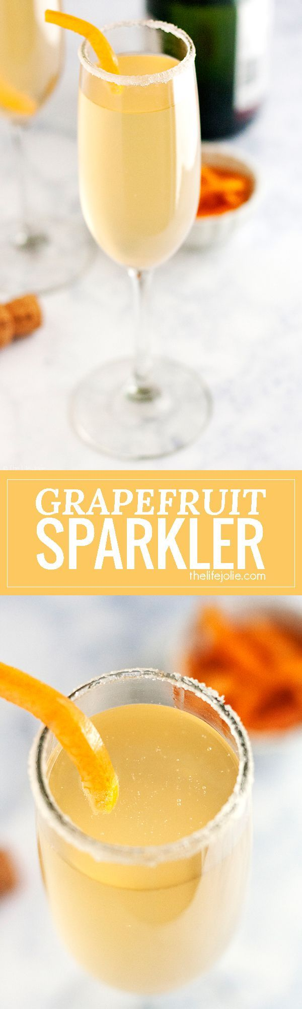 This Grapefruit Sparkler is a festive champagne cocktail! I love adult beverages featuring sparkling wine and this is simple to make and refreshing to drink at brunch or to ring in the New Year. This pretty drink will be a mainstay at your next girls nigh