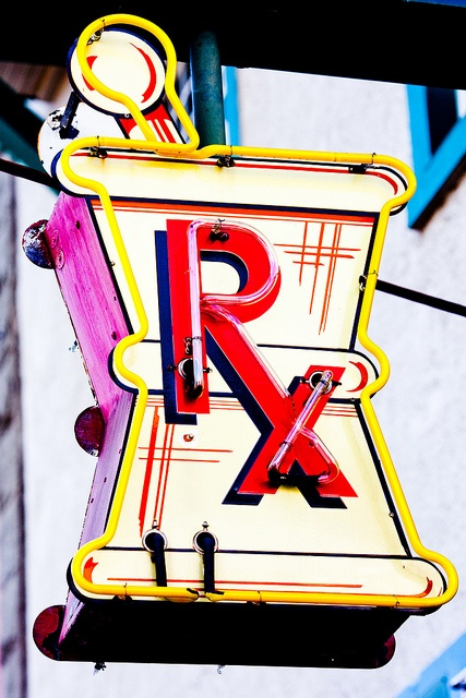 Old pharmacy sign in Woodland, California.  Taken by Thomas Hawk