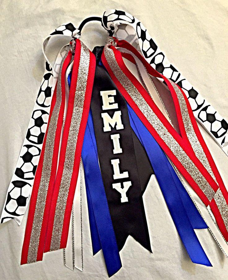 Red White and Blue Soccer Hair Ribbons, Custom Sport Hair Ribbons, Soccer Hair Bows, Basketball Ribbons, Softball Ribbons by SunshineandBling on Etsy