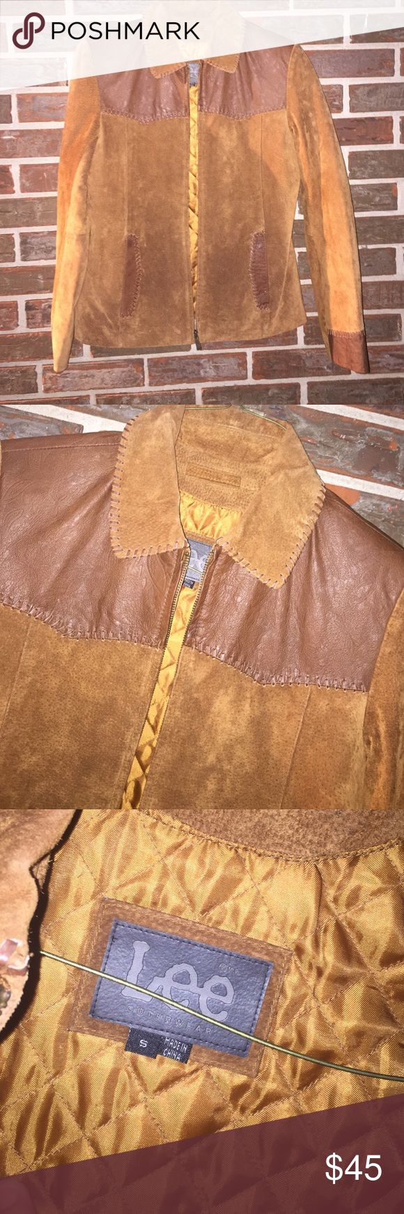 """Vintage leather Lee jacket Women's size small, but fits medium perfectly. Vintage genuine leather Lee jacket. Lined & warm. Pit-pit is 19"""". Zips up front with front pockets. Really good condition! Lee Jackets & Coats"""