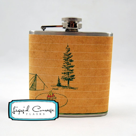 etsy (liquidcourage): camping tan tent flask.