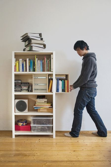 growing cabinet by Yi Cong Lu: Growing Cabinets, Cong Lu, Books Shelves, Yi Cong, Diy Bookca, Small Spaces, Cabinets Design, Expanded Bookshelf, Shelves United