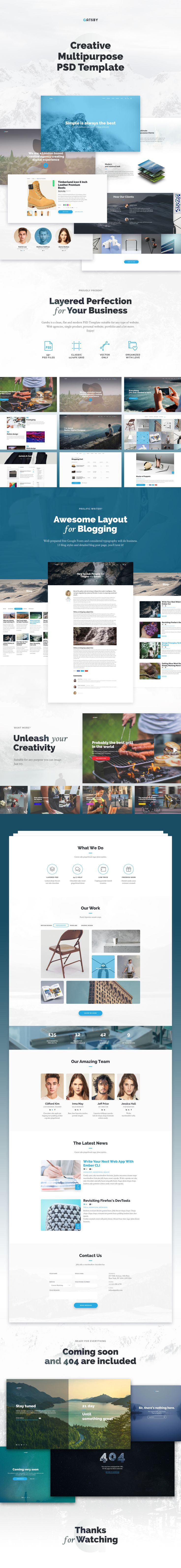 Clean, flat & modern PSD Template for any type of website