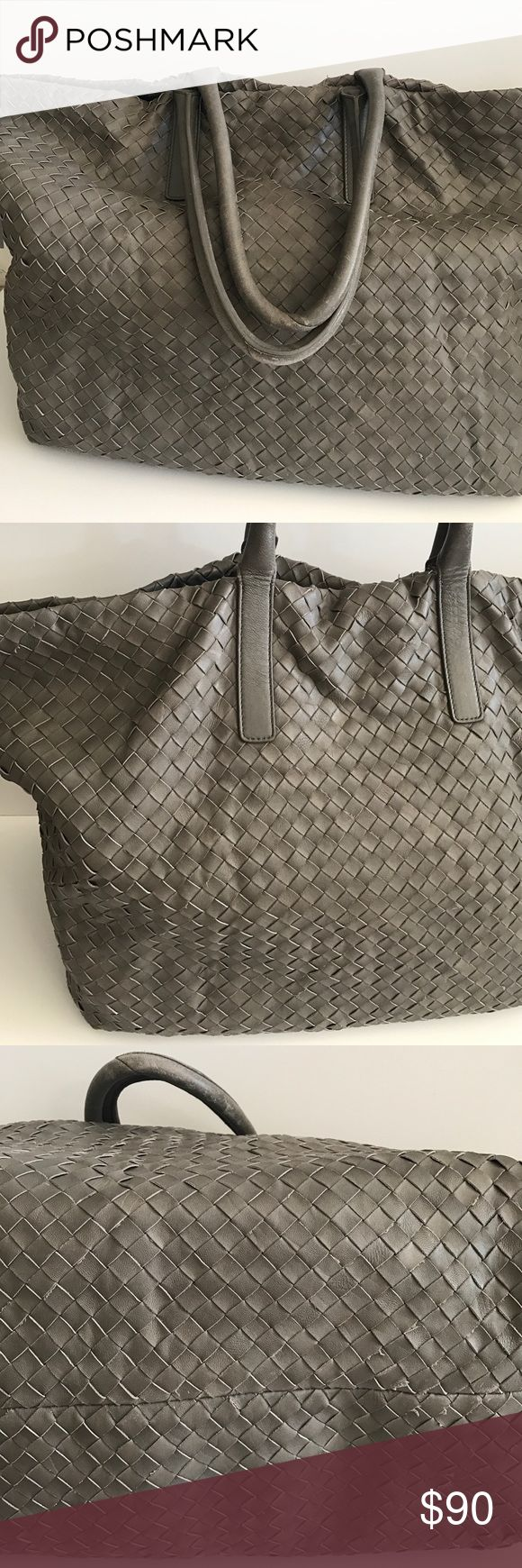"💥SALE Club Monaco Lamb Leather Extra Large Bag Brand new with tags. Extra Large Tote, Color Grey. Straps have wear texture feel , also has minor scratch see pic#6, Measurements: 28""x17"", Straps 23"". Original price $399.00 Club Monaco Bags Totes"