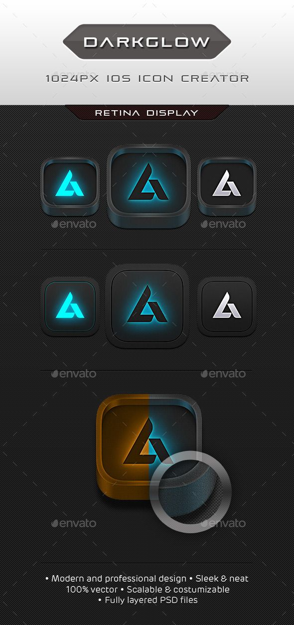 Dark Glow Icon Creator — Photoshop PSD #techy #app • Available here → https://graphicriver.net/item/dark-glow-icon-creator/10170224?ref=pxcr