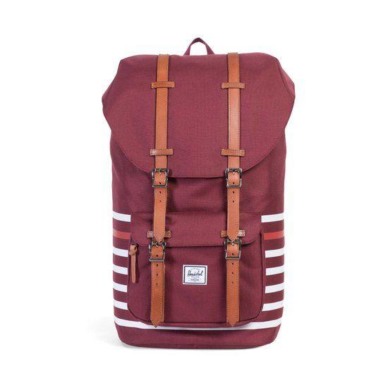 Herschel Supply Co. Little America - Rugzak - Windsor Wine Offset Stripe / Veggie Tan Leather