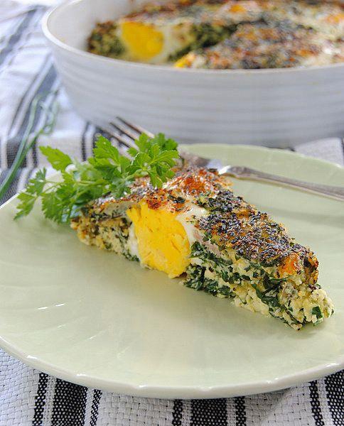 Double-Egged Crustless Spinach Tart