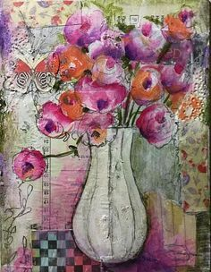 Mixed Media Blog Project - Abstract Flower Still Life - A fun collaboration of color, collage, shapes and contemporary design.