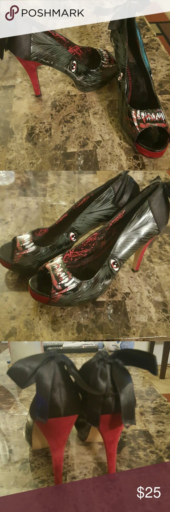 Iron fist were wolf heels beautiful Worn a few times.  No box for them anymore. Sorry. Iron Fist Shoes Heels