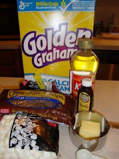 Golden Graham S'mores Dessert!  Mix Golden Grahams, mini marshmallows, 1 pkg milk choc. chips, light corn syrup, butter, and vanilla - cool it in a 9x13, cut with a knife and you have smore bars!