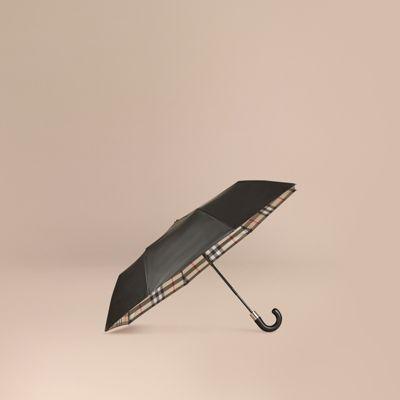Check-lined Folding Umbrella Camel