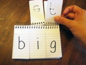 DIY flip book! Word families, making words, blending practice. Great idea!
