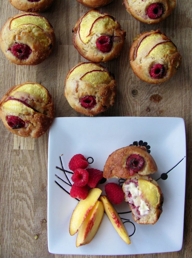 Muffins pêches et framboises_Mes tergiversations