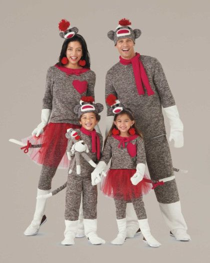 Sock Monkey Costume For Boys - exclusively ours - You'll knock everyone's socks off dressed as this beloved favorite. Inspired by the whimsical toys made of authentic red heel socks, the costume is crafted of heathery knit with red accents and button eyes.
