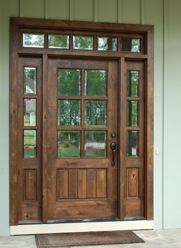 Knotty Alder Oconee Tdl 6 Lite Single Door 2sidelite Rec Transom In 2020 Wooden Front Doors Knotty Alder Doors Exterior Doors