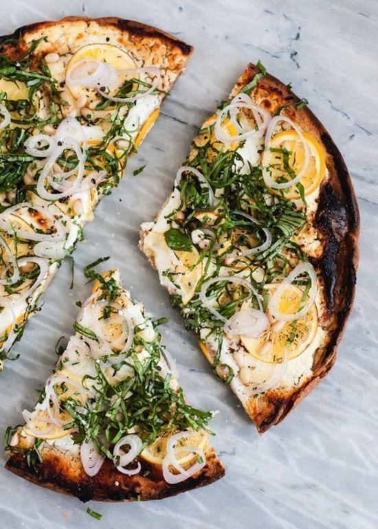 QUINOA PIZZA WITH GOAT CHEESE, MEYER LEMON & BASIL RECIPE