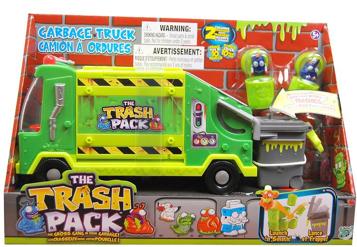 The Trash Pack 'Trashies' Garbage Truck. Designed to collect the icky characters from the Trash Pack Gross Gang. 2 Collectible Trash Pack characters included. Holds up to 10 Trash Pack Trashies. Collect Gross Gang characters as you play and Store inside when done. Compatible with the more than 100 Trash Pack characters available.