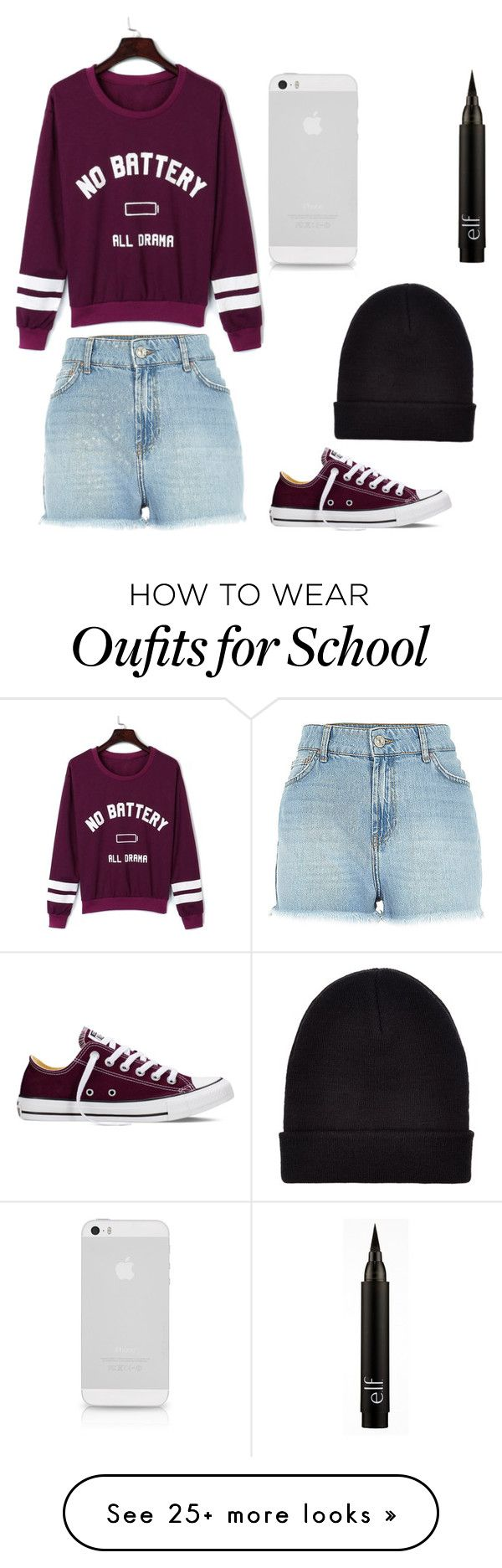 """""""Monday school day"""" by ekb-banga on Polyvore featuring WithChic, Converse and New Look"""
