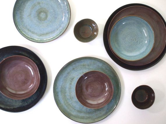Stoneware Dinnerware Set in four colors. Stoneware Dishes. Handmade Stoneware Pottery Set. Ceramic Plates and Soup Bowl