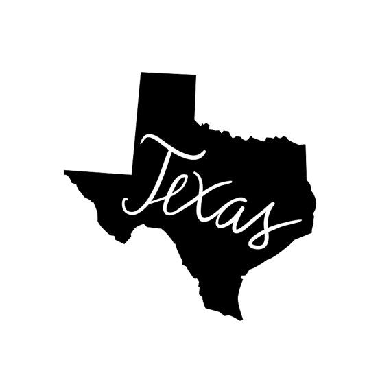 Texas State Outline with Cursive Text by DecalPhanatics on Etsy