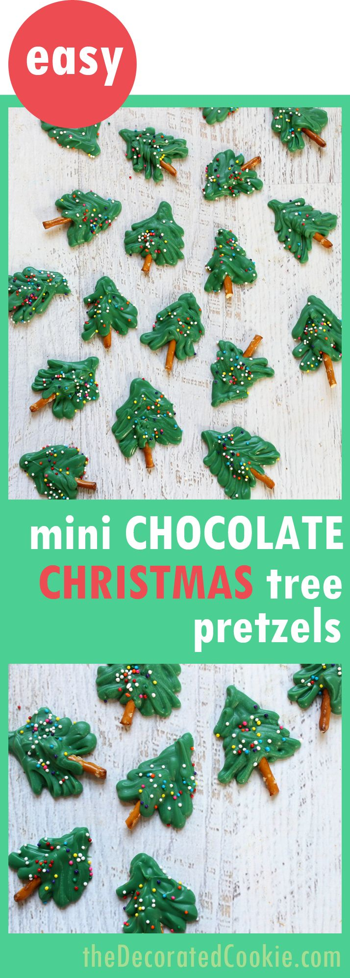 mini chocolate Christmas tree pretzels -- fun food idea for Christmas -- great homemade food gift
