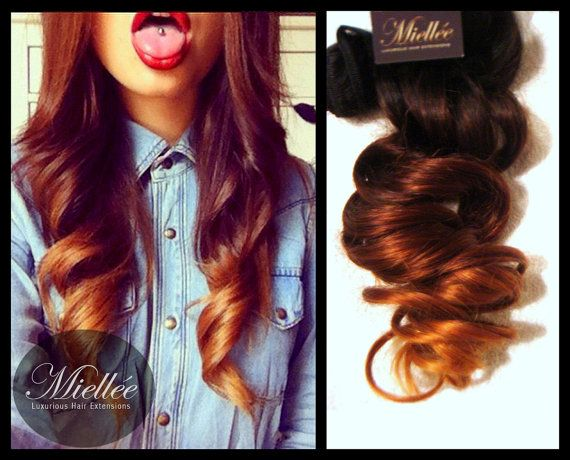 Clip In Hair Extensions / AUBURN OMBRE / Human Hair / Body Wave Texture / 10 Piece Clip In Set