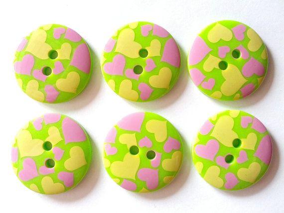 15pcs Cute Heart Printed Retro Button Size 23 by CustomizeSouvenir, $3.50