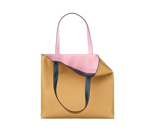 Double Sens Hermes reversible tote bag in curry swift calfskin and ...