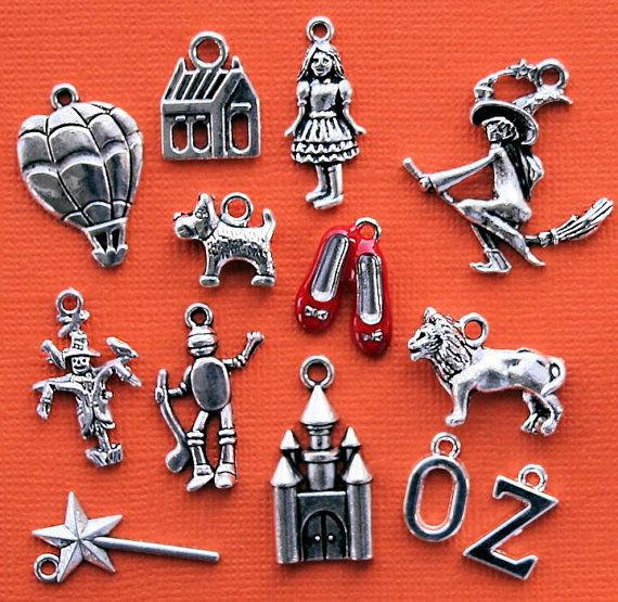 Wizard of Oz Charm Collection Antique Tibetan Silver Tone 12 Charms - COL272 on Etsy, $4.25