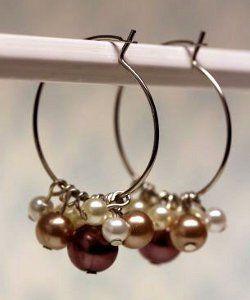 Champagne Pearl Cluster Hoops | AllFreeJewelryMaking.com