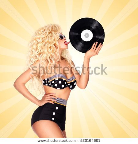 Beautiful pinup bikini model, licking LP microgroove vinyl record on colorful abstract cartoon style background.