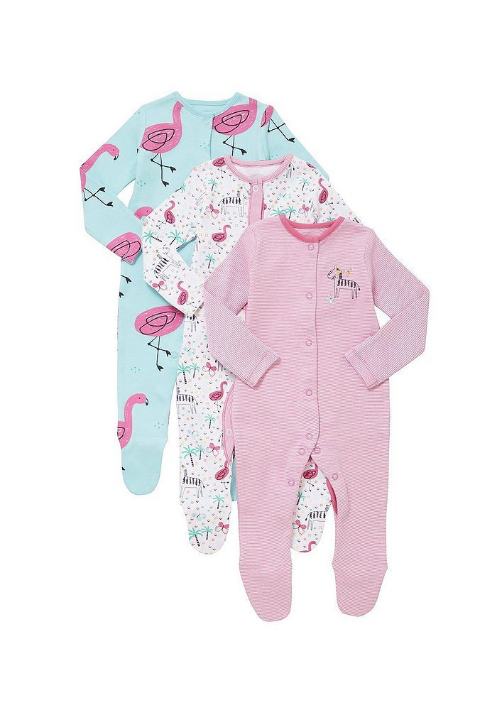 12f165853389 Tesco direct: F&F 3 Pack of Zebra and Flamingo Print Sleepsuits ...