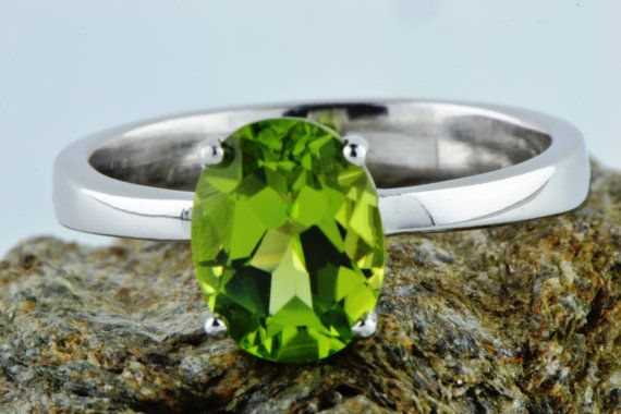 Natural Earth Mined Peridot Ring August by LuckyGirlAtelier