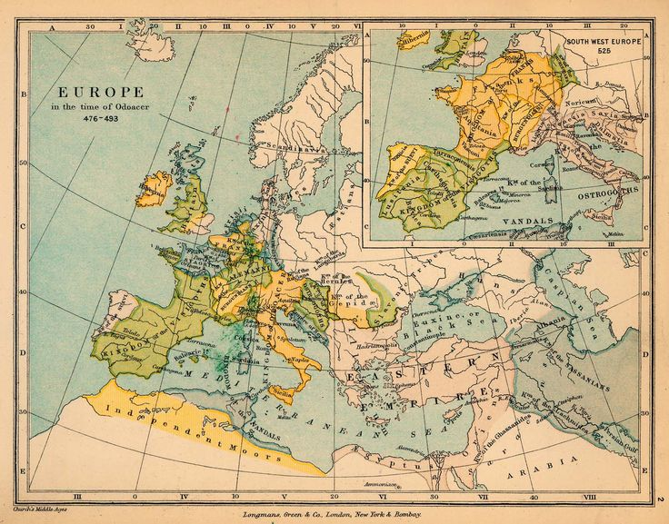 Europe in the time of Odoacer, 476-493, by Charles Colbeck (1847-1903), from The Public Schools Historical Atlas (1884).