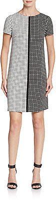 Two-Tone Square Print Dress
