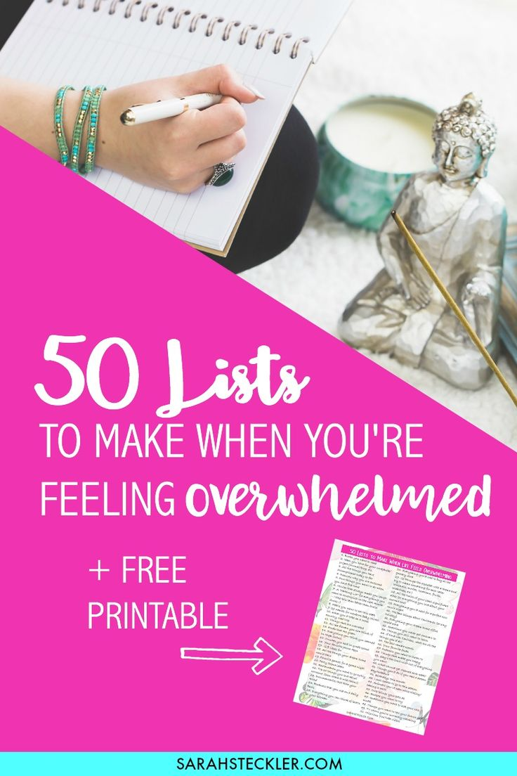 50 Lists to make when you are feeling overwhelmed. Click through this post to grab your FREE Printable and get to those lists!