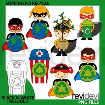 Earth day clip art featuring superhero with globe, recycle sign, and with globe. Superhero recycle clipart pack great for the upcoming Earth day projects! Also great for go green theme/This clip art set can be purchased in a BUNDLE at a discounted price.