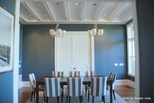 i love details on the ceiling: California House, Wall Colors, Home Tours, The Doors, Paintings Colors, Stay At Home, Grey Wall, Stripes Chairs, Grey Dining Rooms