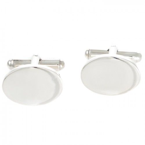 A pair of plain oval sterling silver cufflinks, ready to be engraved. www.rutherford.com.au