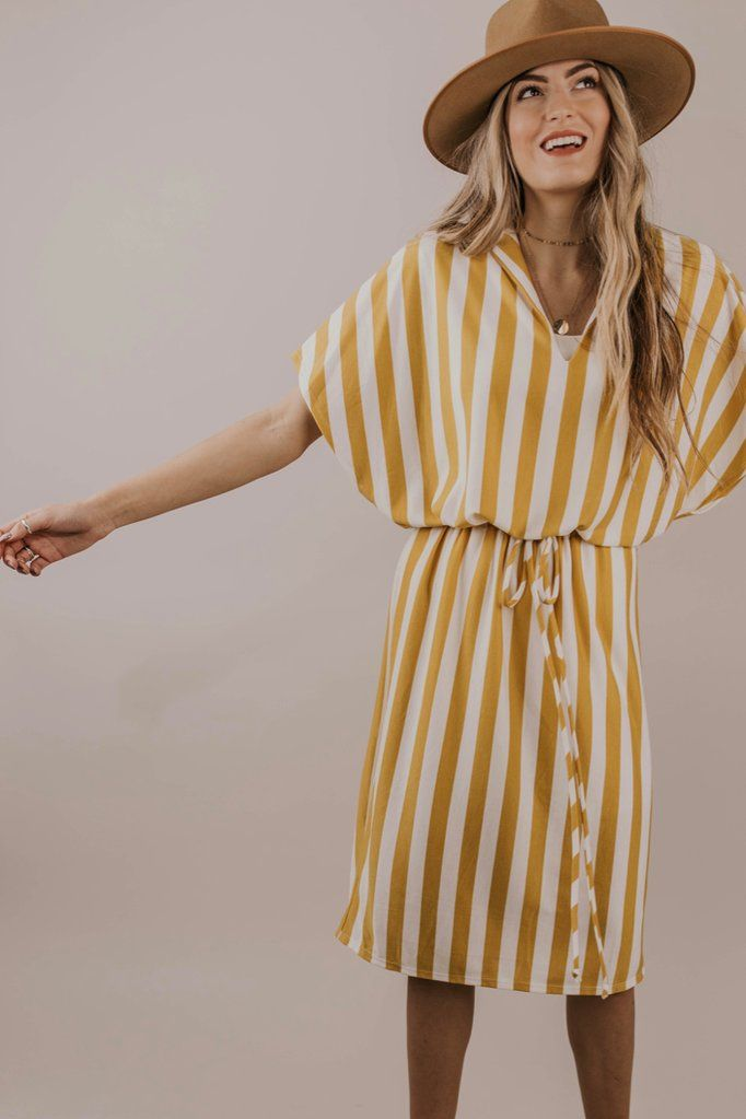 ab9fd9de9952a Mustard Stripe Midi Dress Outfit Ideas