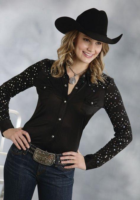 64126110d25 Roper® Women s Black Sequined Long Sleeve Rhinestone Snap Western Show Shirt