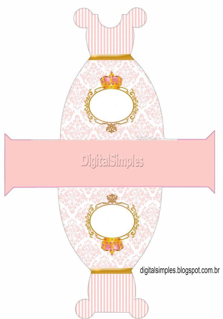 "Caixa Vestido Tema""Coroa Rosa Menina"""