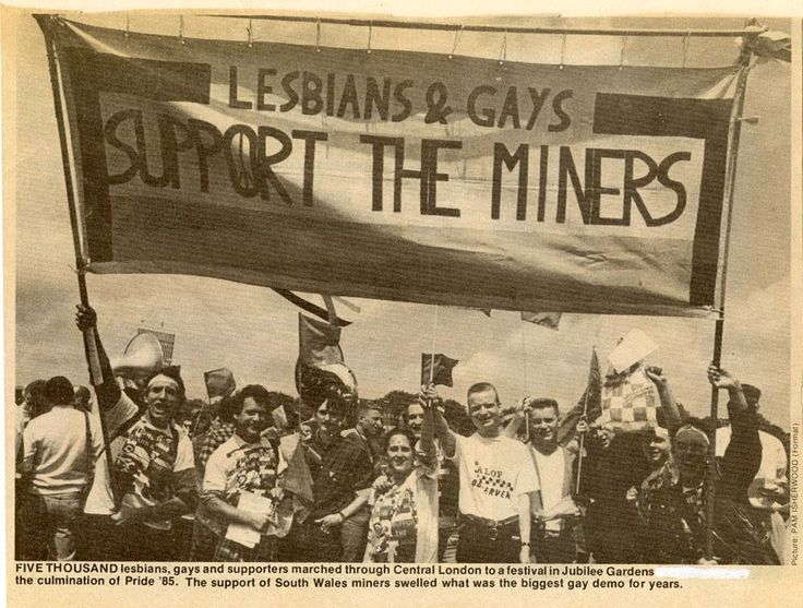"""""""Lesbians & Gays Support the Miners"""" banner at London Pride 1985 [984x745]"""
