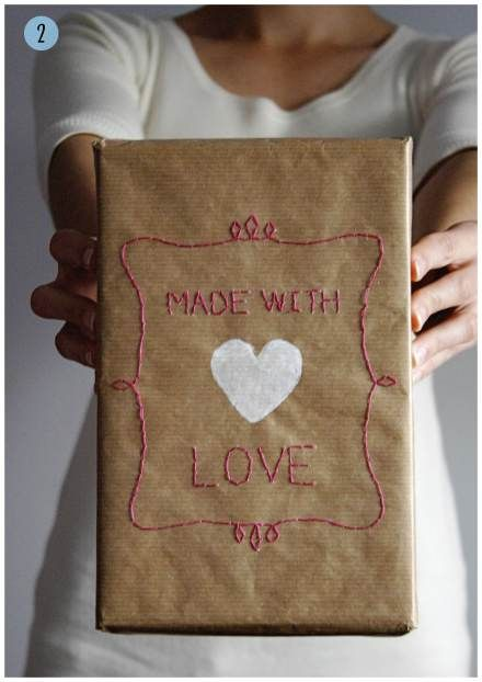 Stitched brown paper wrapping