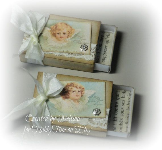 Set of 2 Christmas Decorated Matchboxes  Handmade  by HobbyTine